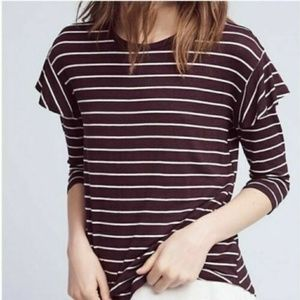 Anthro Dolan Left Coast Striped Ruffle Sleeve Tee